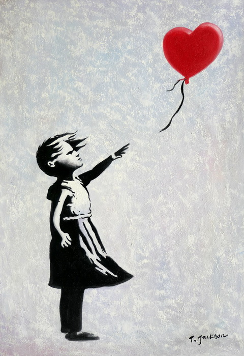 Homage to Banksy - Girl with balloon d97341 60x90cm exquisites Ölgemälde