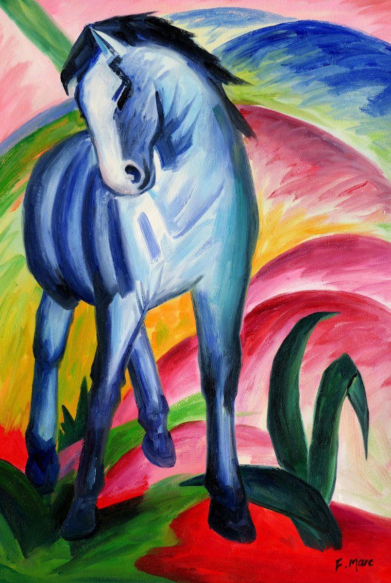 Franz Marc - Blaues Pferd d97343 60x90cm Expressionismus Ölgemälde