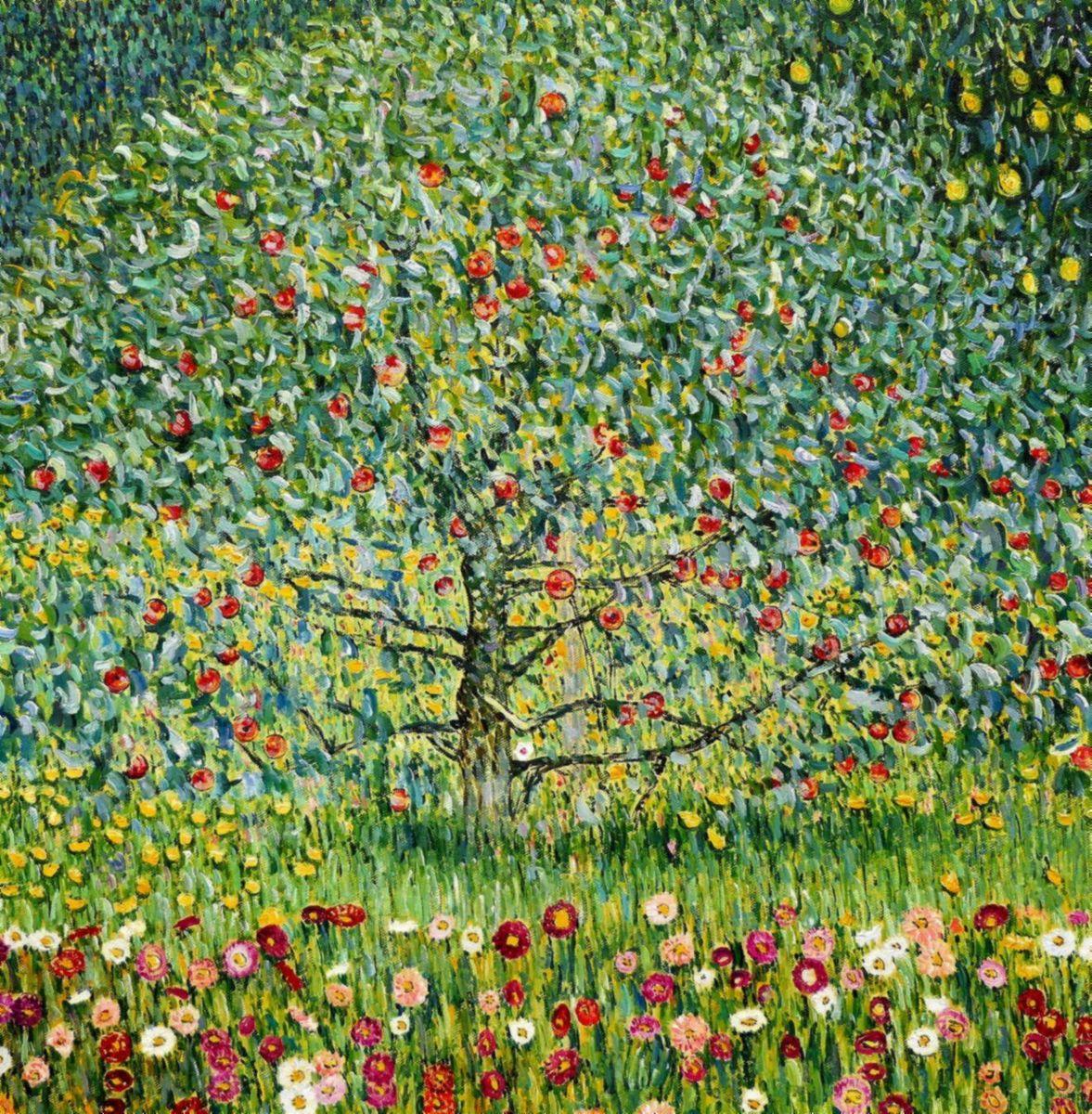 Gustav Klimt - Der Apfelbaum e97950 60x60cm bemerkenswertes Ölgemälde handgemalt Museumsqualität