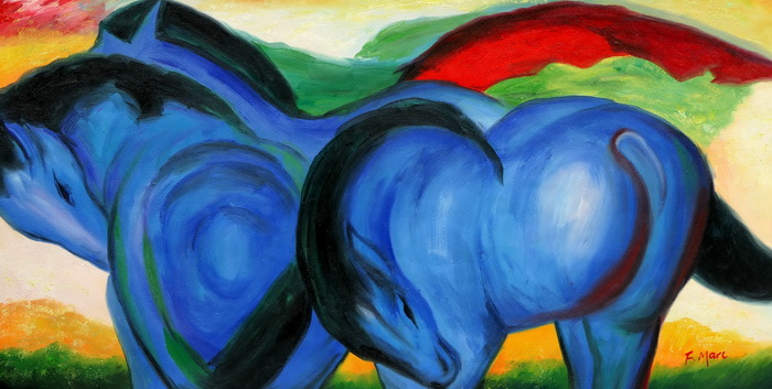 Franz Marc - Große blaue Pferde f97398 60x120cm exzellentes Ölgemälde