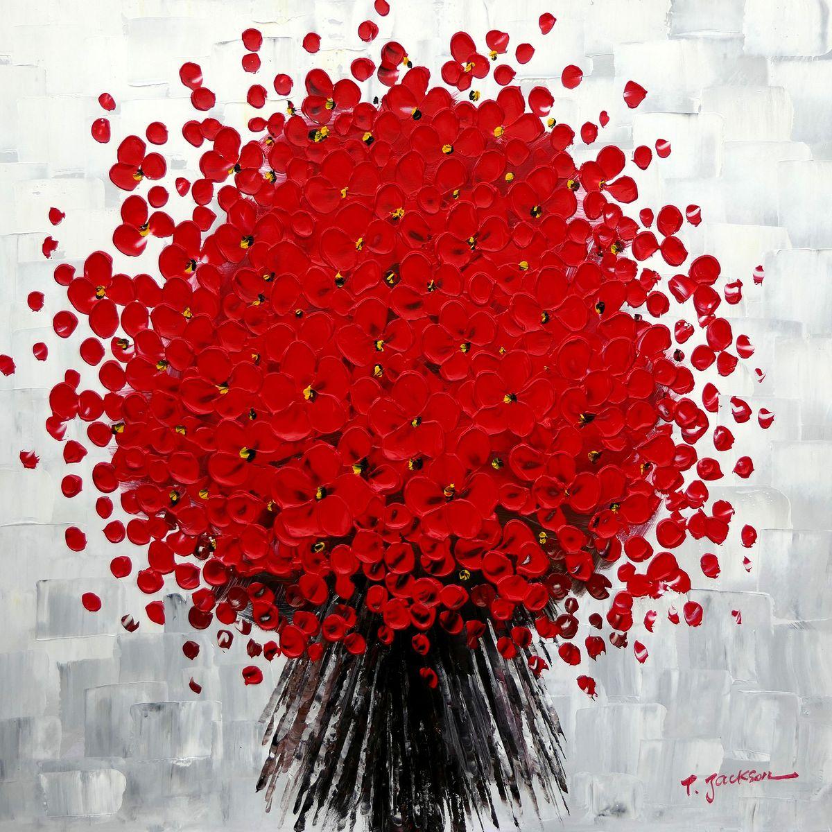 Modern Art - Abstrakte rote Blumen g97435 80x80cm Ölbild handgemalt
