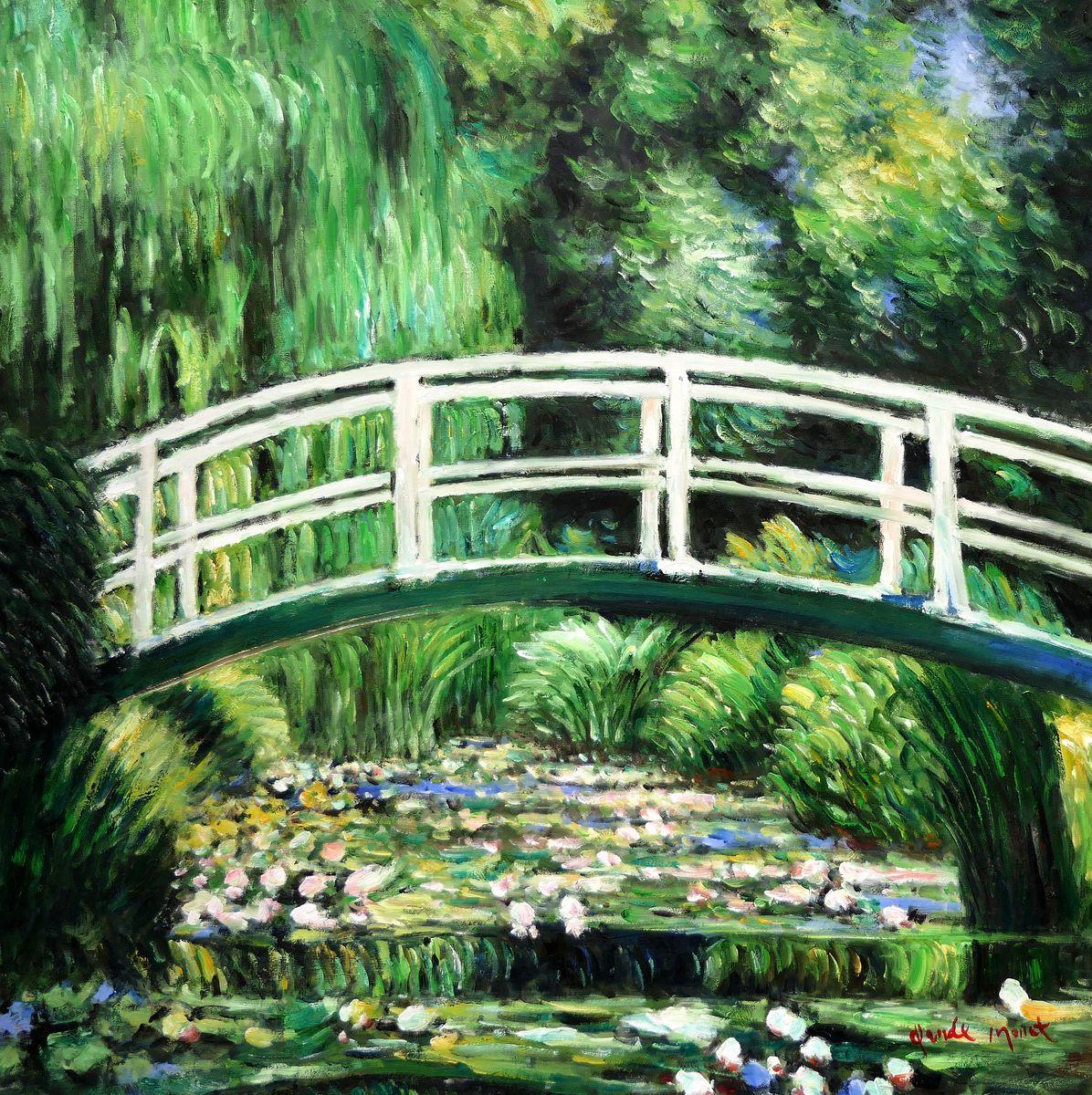 Claude Monet - Brücke über dem Seerosenteich h97440 90x90cm Ölbild handgemalt
