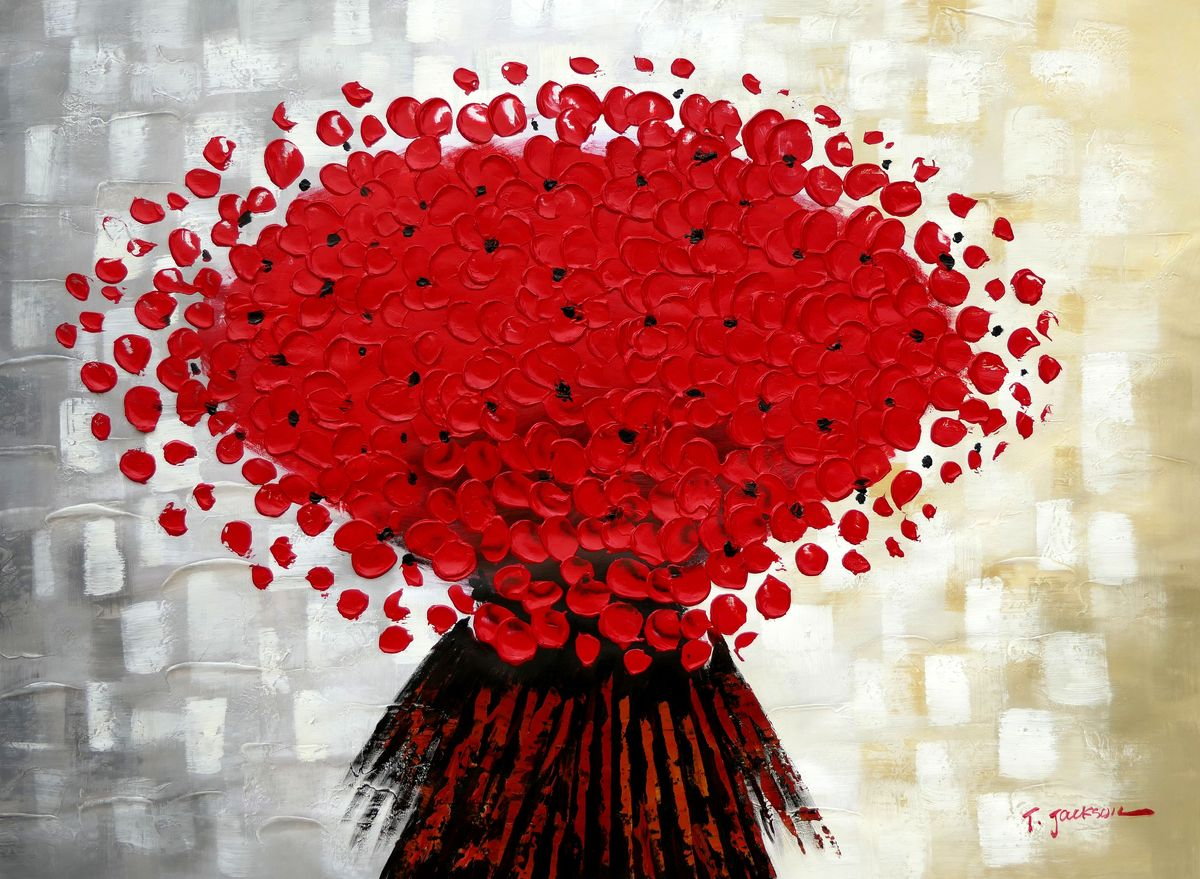 Modern Art - Abstrakte rote Blumen i97461 80x110cm Ölbild handgemalt