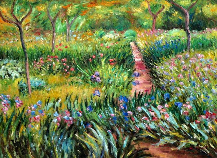 Claude Monet - Monet´s Garten in Giverny i97475 80x110cm exzellentes Ölgemälde