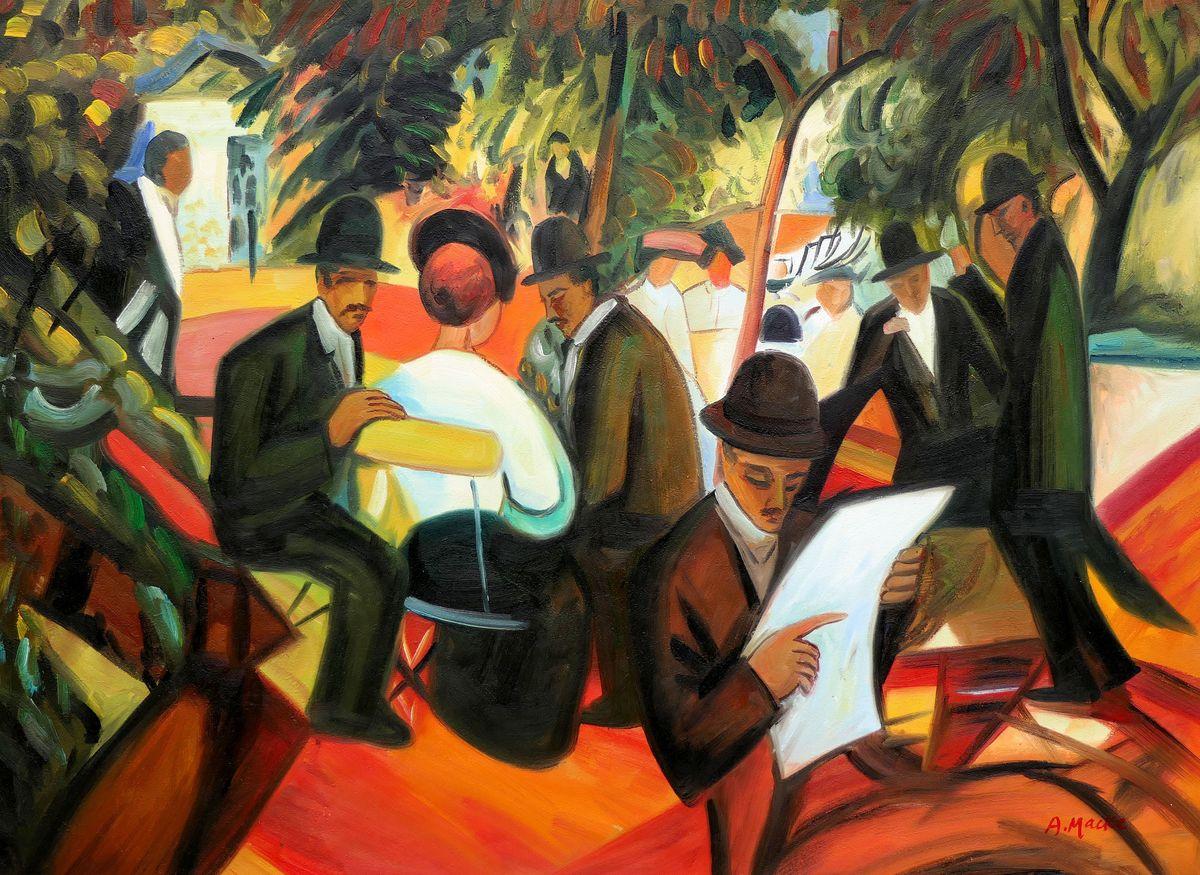 August Macke - Gartenrestaurant i97478 80x110cm stilvolles Gemälde handgemalt