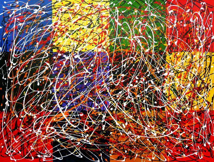 Homage of Pollock - Dripping over cubes k97492 90x120cm abstraktes Ölgemälde handgemalt