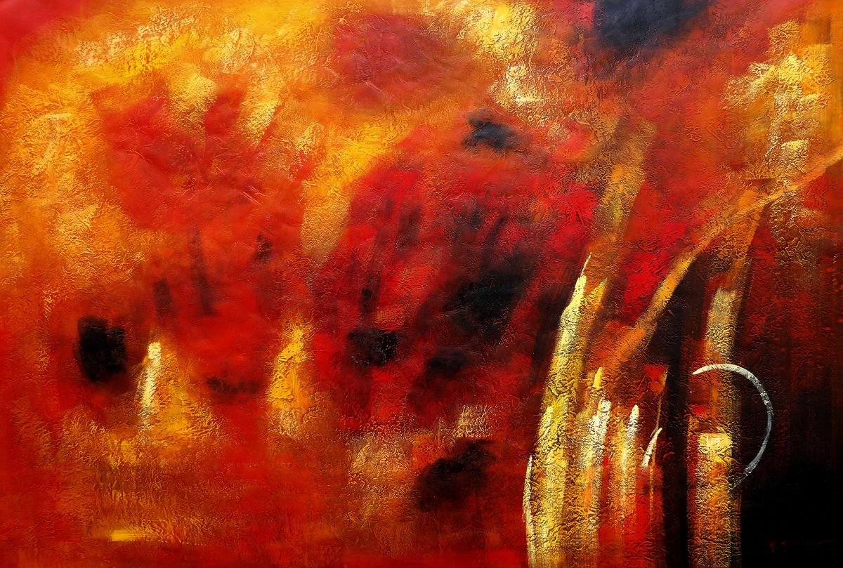 Abstrakt - Der Funkenflug p97534 120x180cm abstraktes Ölbid handgemalt