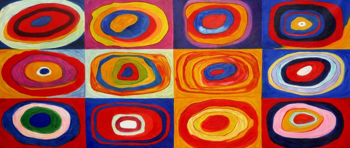 Wassily Kandinsky - Farbstudie Quadrate t97521 75x180cm exquisites Ölgemälde