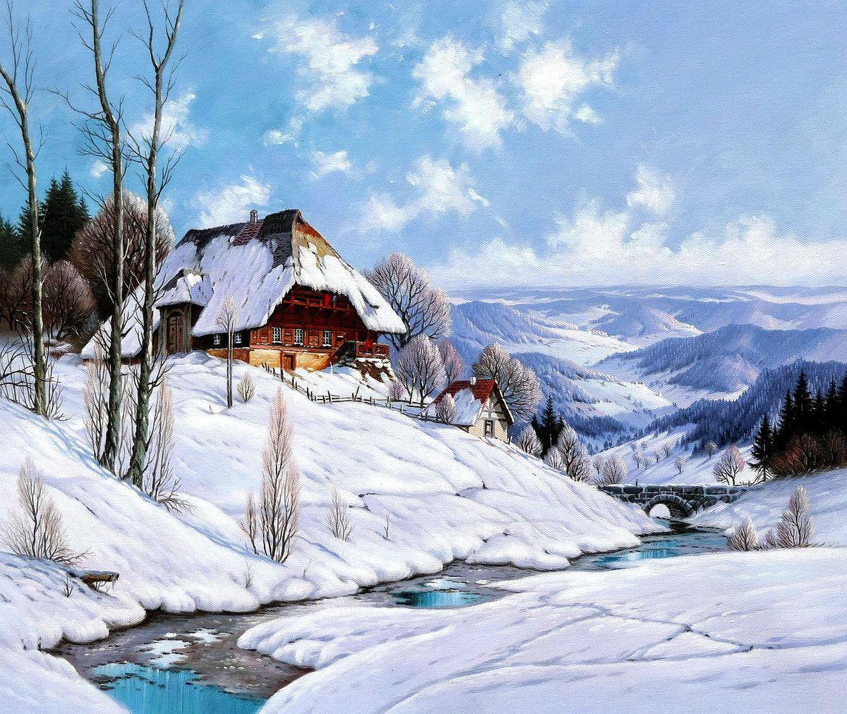 Karl Hauptmann - Bauerngehöft im Morgenlicht c97707 50x60cm beeindruckendes Ölbild