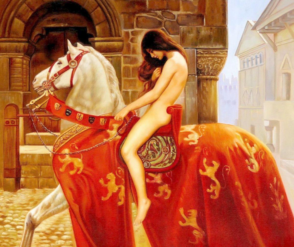 John Collier - Lady Godiva c98072 50x60cm beeindruckendes Gemälde handgemalt
