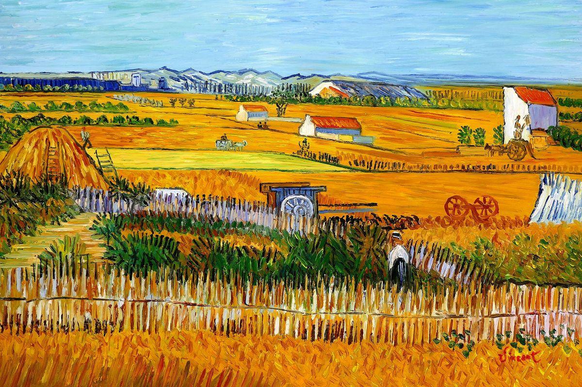 Vincent van Gogh - Erntelandschaft d97832 60x90cm Gemälde handgemalt