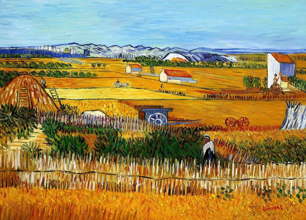 Vincent van Gogh - Erntelandschaft i97954 80x110cm Gemälde handgemalt