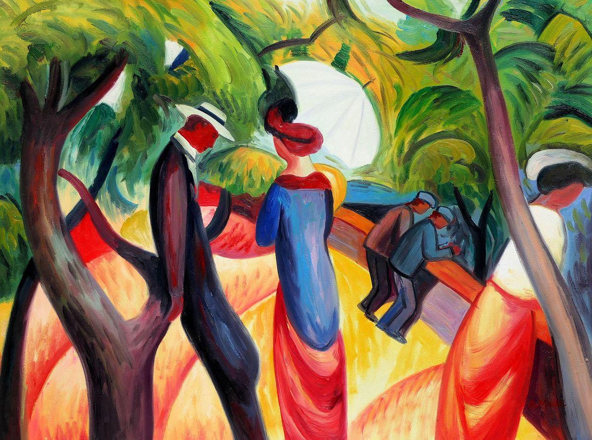 August Macke - Promenade 1913 i97956 80x110cm Expressionismus Ölgemälde handgemalt