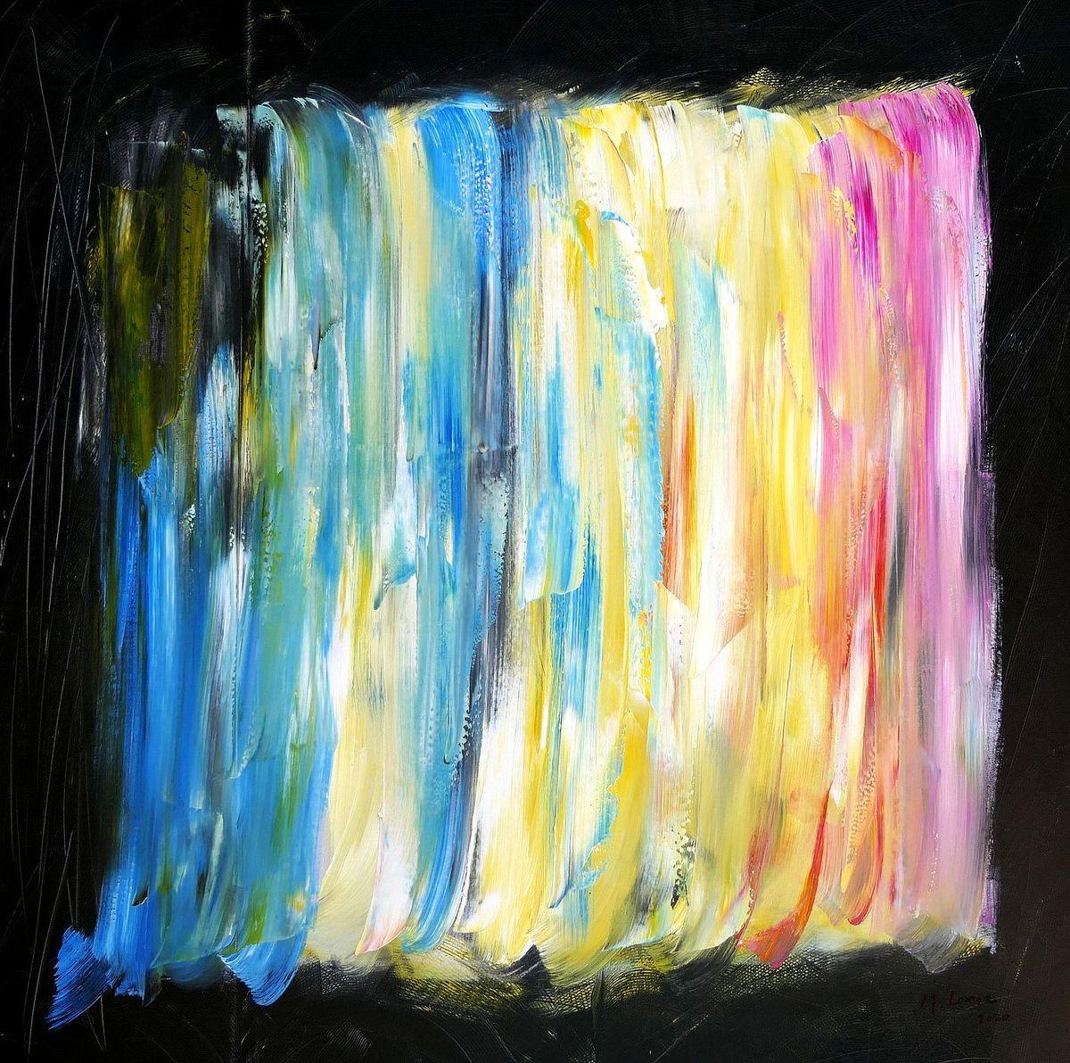 Abstract - Miami art deco yard m98004 120x120cm Ölbild handgemalt