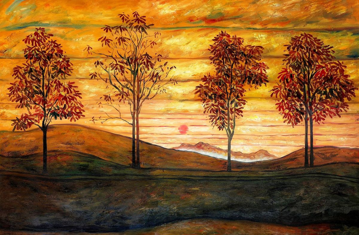 Egon Schiele - Vier Bäume p98061 120x180cm exzellentes Ölbild