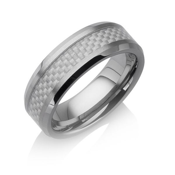 "Tungstino Ring ""Carbon Fiber Shiny White"" Wolframcarbid"