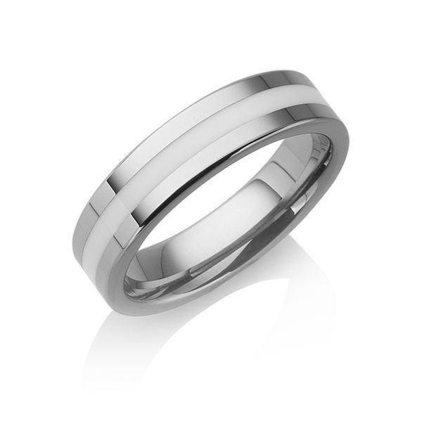 "Tungstino Ring ""White Inlay"" Wolframcarbid"