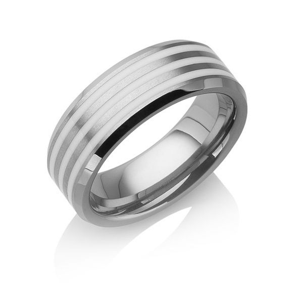 "Tungstino Ring ""White Inlay Tripple"" Wolframcarbid"