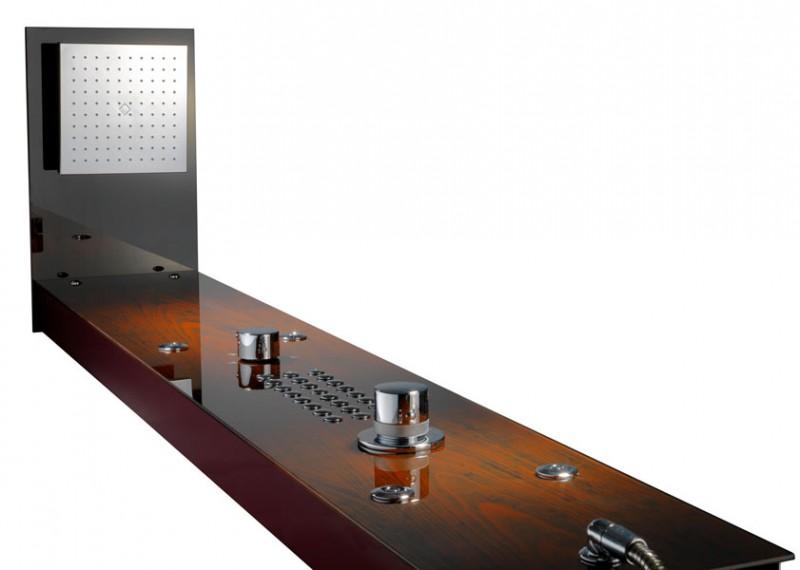 xxl glas duschpaneel mahagoni mit 4 massagejets thermostat duschsysteme duschpaneele. Black Bedroom Furniture Sets. Home Design Ideas