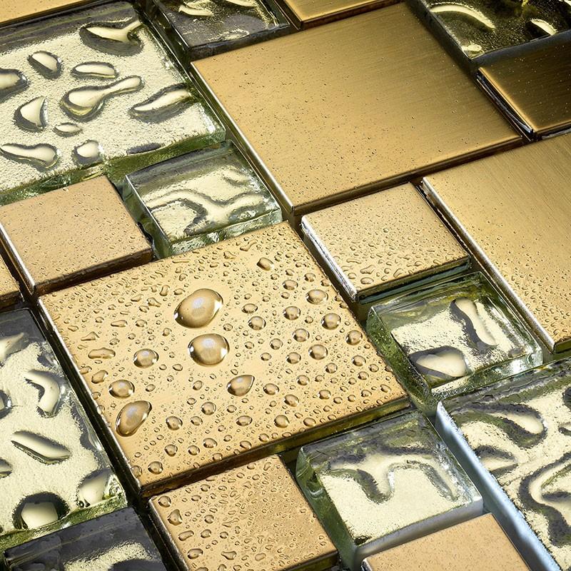 Glasmosaik fliesen  Glas Mosaik Fliesen Edelstahl vergoldet Mosaik