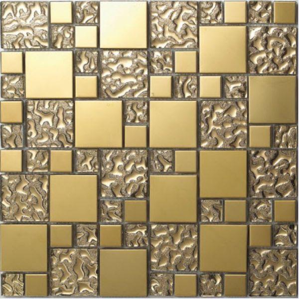 Glas Mosaik Fliesen Edelstahl vergoldet