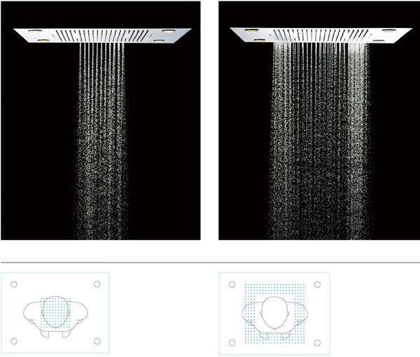 Soho Regendusche 60x80 LED Wasserfall mit Einbaurahmen