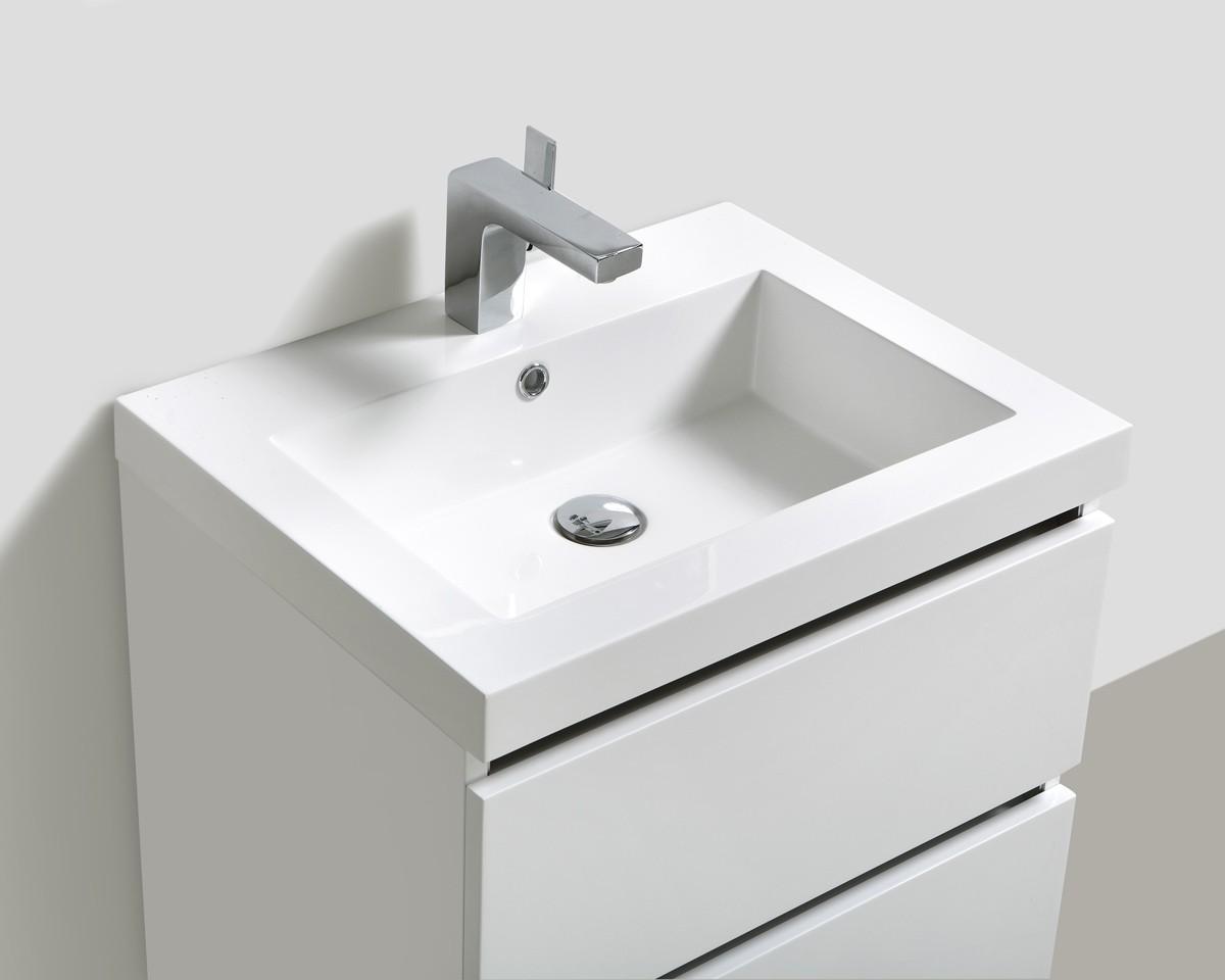 """Badmöbelset """"Soho"""" 60cm mit Waschtisch, Unterschrank und Spiegel, Farben: Weiß, Wenge & Anthrazit"""