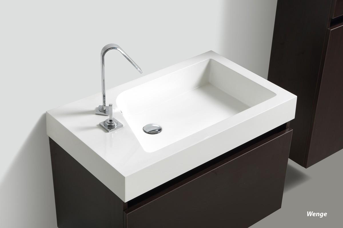 """Badmöbelset """"Manhattan"""" 80cm mit Waschtisch, Unterschrank und Spiegel, Farben: Weiß, Wenge & Anthrazit"""
