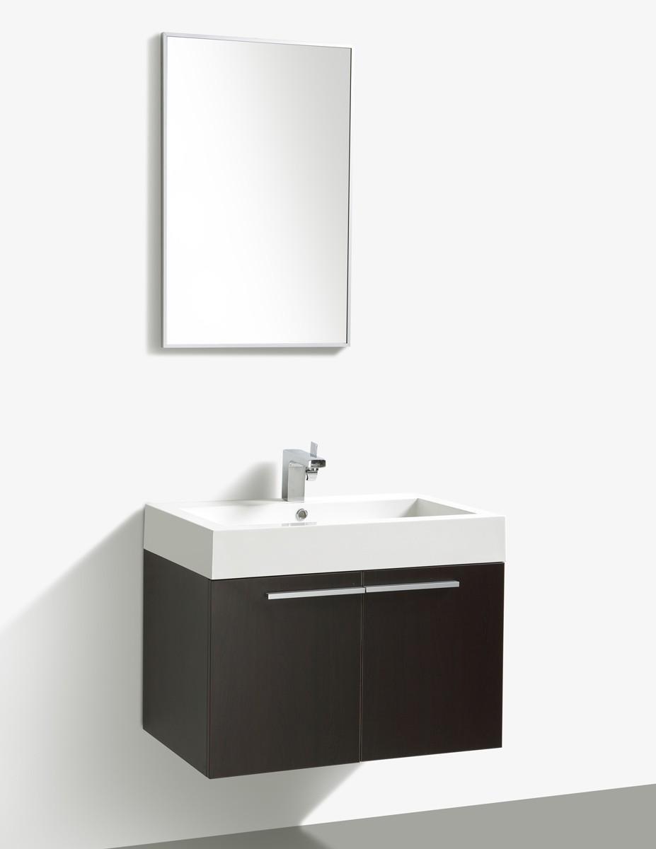 """Badmöbelset """"Villa"""" 75cm mit Waschtisch, Unterschrank und Spiegel, Farben: Weiß, Wenge & Anthrazit"""