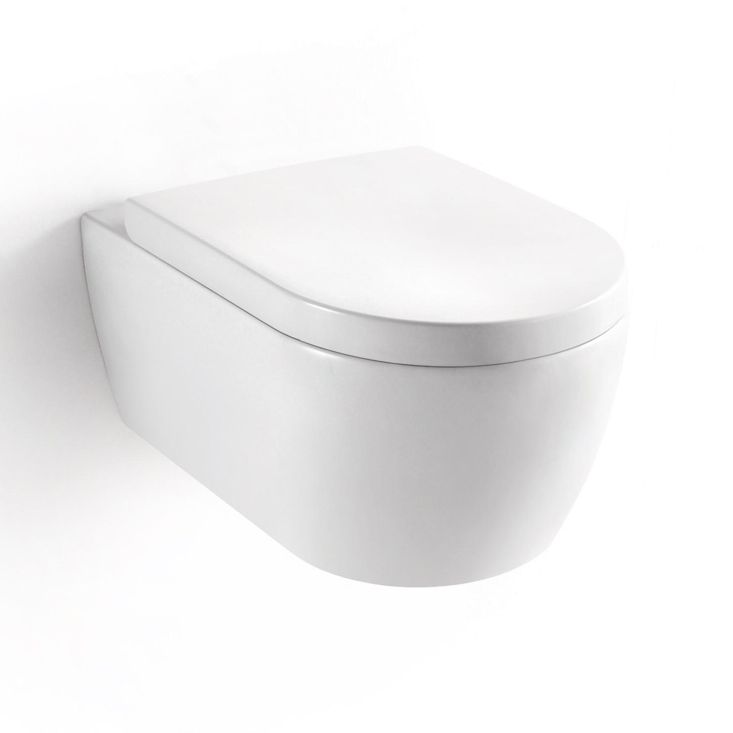 Soho Hänge Wand WC ohne Unterspülrand Toilette Brillant Weiss mit WC-Sitz