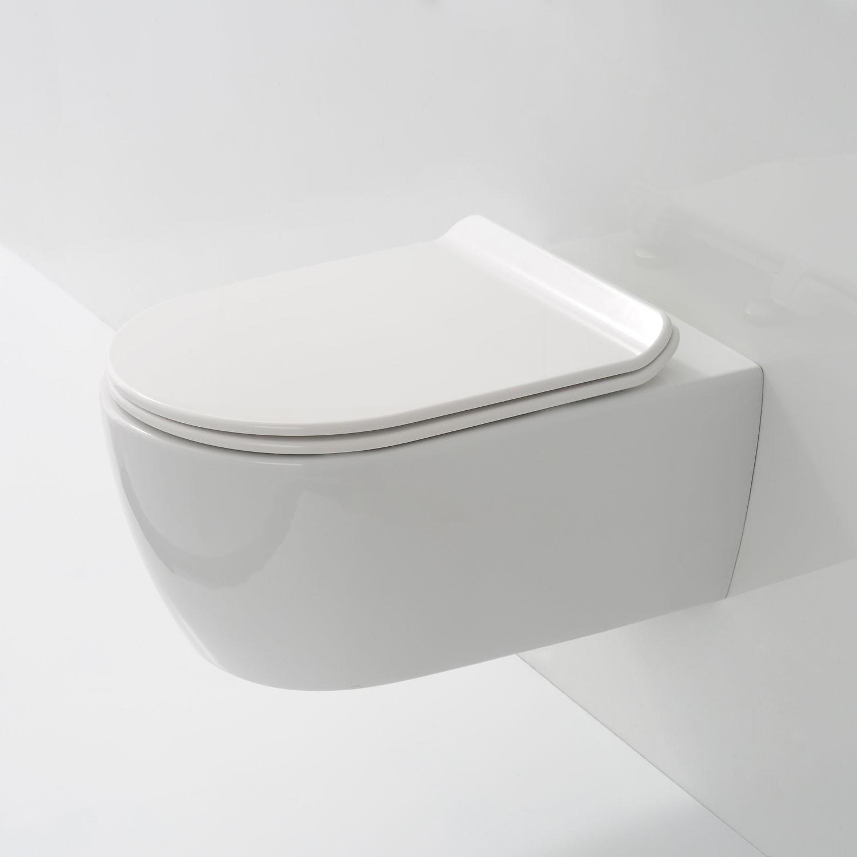 Soho Hänge Wand WC ohne Unterspülrand Toilette Brillant Weiss mit Ultra Slim WC-Sitz