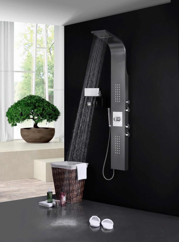 Edelstahl Duschpaneel Schwarz Thermostat mit Massagejets & Wasserfall
