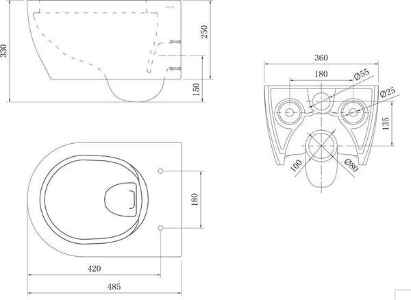 soho h nge wand wc rimless randlos toilette weiss mit wc sitz ohne sp lrand ebay. Black Bedroom Furniture Sets. Home Design Ideas