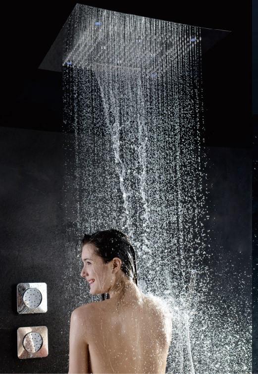 Soho Regendusche 80x80 LED Wasserfall & Nebel mit Einbaurahmen