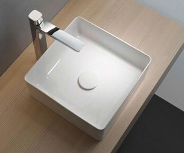 Aufsatz Keramik Waschbecken Soho Brillant Weiß 36 x 36 cm