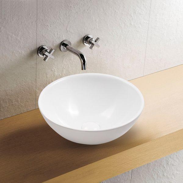 Aufsatz Keramik Waschbecken Rund Highline Brillant Weiß 40 cm