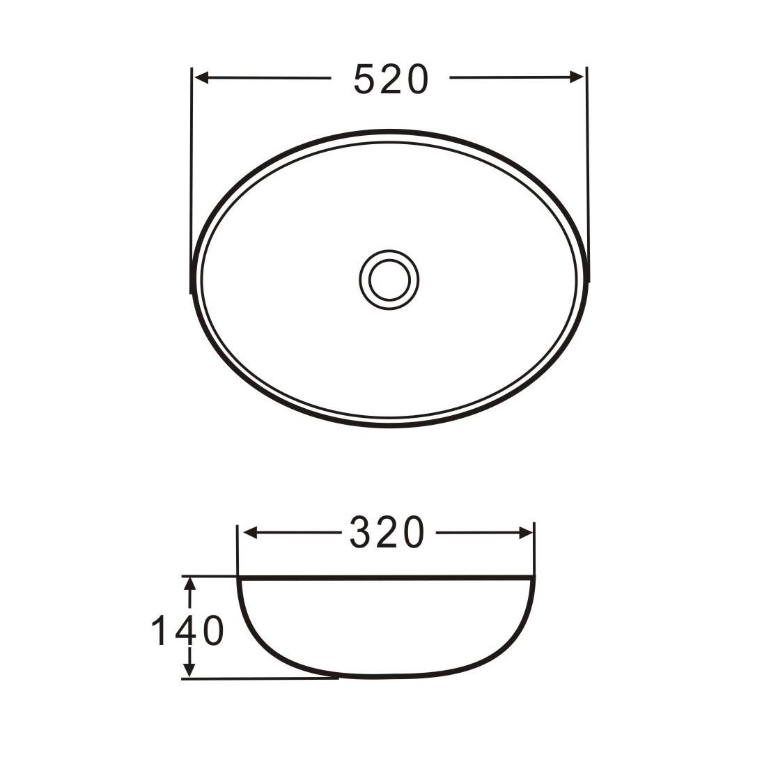 Aufsatz Keramik Waschbecken Park Brillant Weiß 52 cm