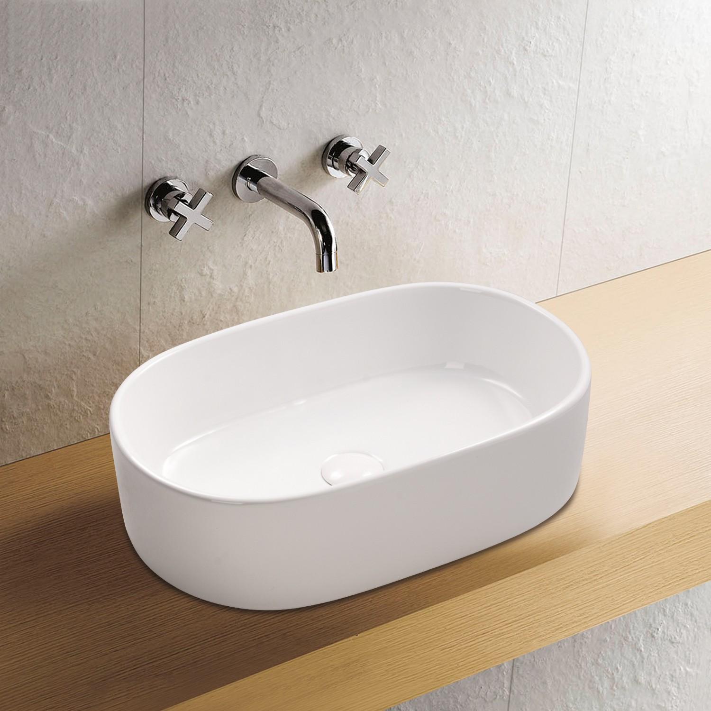 Aufsatz Keramik Waschbecken Marina Weiß 55 cm