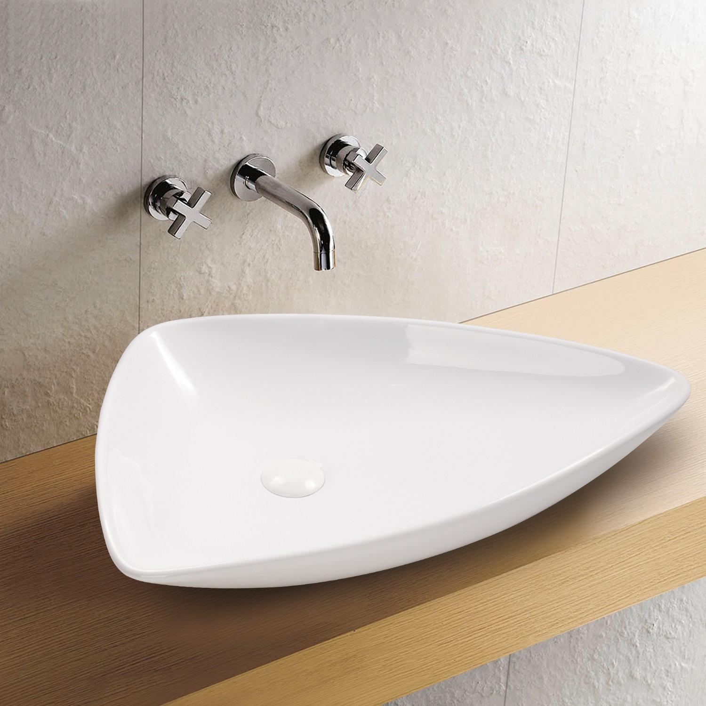 Aufsatz Keramik Waschbecken Bermuda Weiß 65 x 45 cm