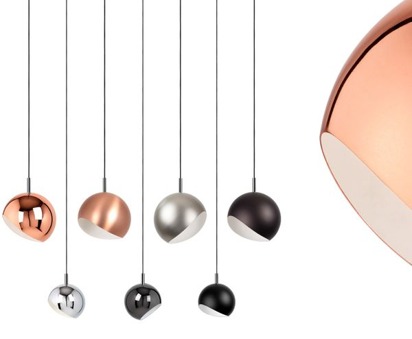 Moderne Retro Pendelleuchte Kugelform Brushed copper | LED 6-10 Watt | 2 Größen