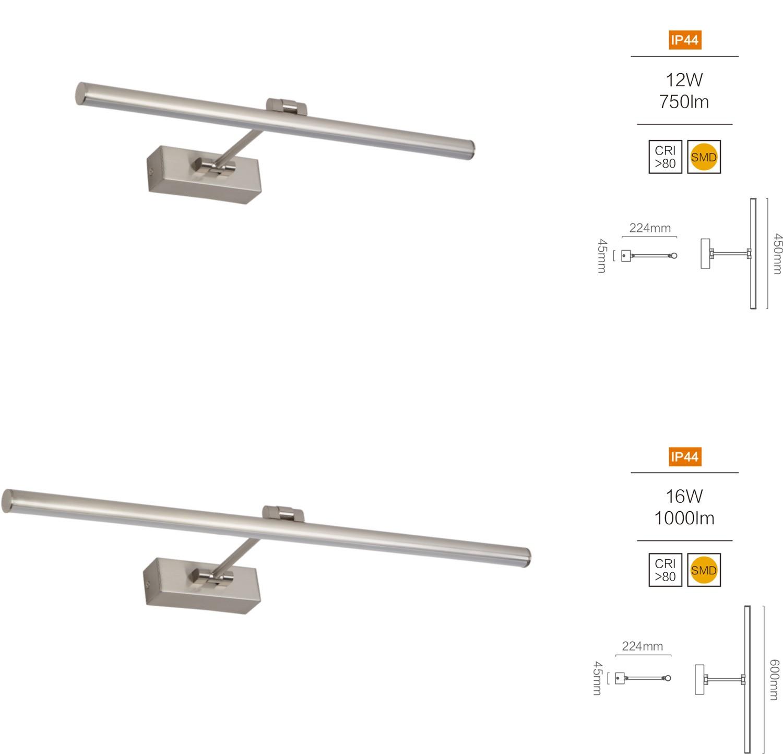 Moderne LED Spiegellampe Wandleuchte aus Metall 12-16 Watt Badlampe