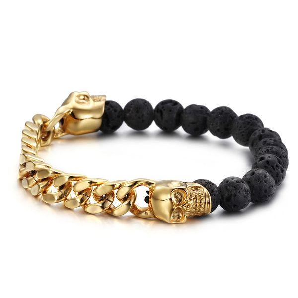 Lavastone Skull Bead Armband Gold