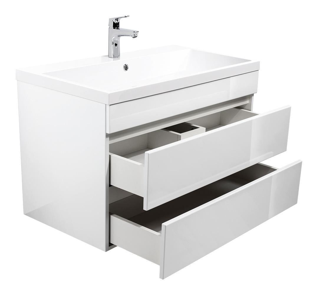 Badmöbel Soho 70 90cm Grifflos Mit Waschtisch Und Unterschrank In Weiß Hochglanz