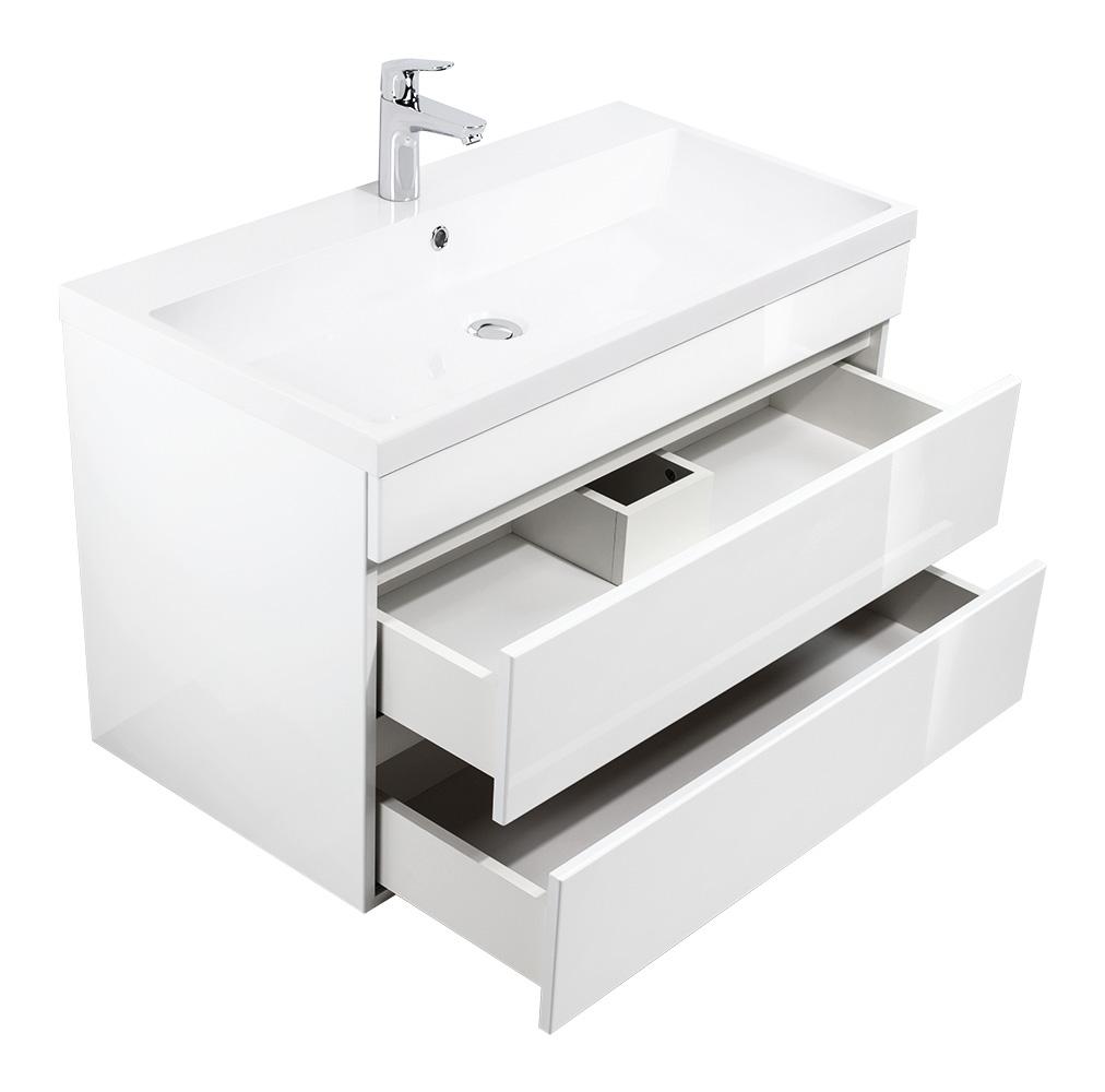 """Badmöbel """"Soho"""" 70 & 90cm Grifflos mit Waschtisch und Unterschrank in Weiß Hochglanz"""