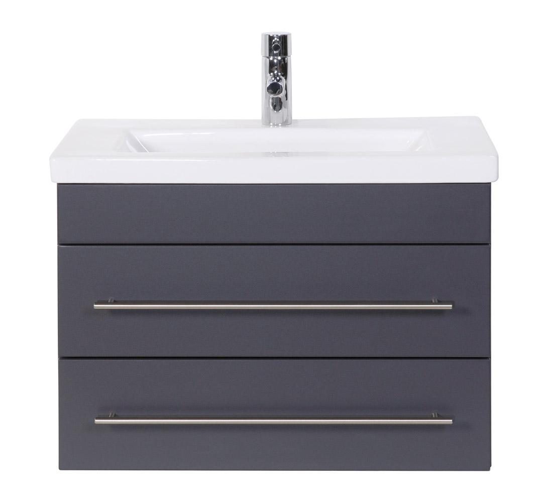 """Badmöbel """"Highline Slim"""" 70cm, mit Waschtisch und Unterschrank Farben: weiß hochglanz, anthrazit seidenglanz"""