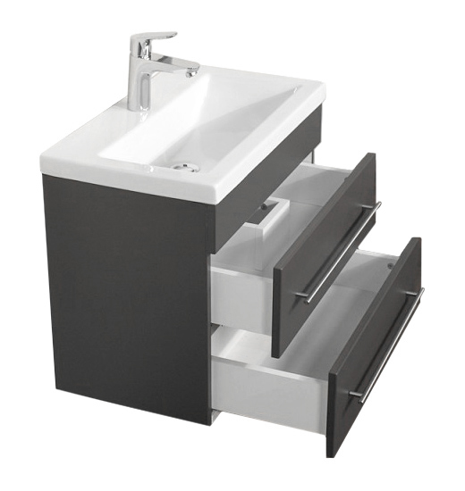 """Badmöbel """"Highline Slim"""" 60cm, mit Waschtisch und Unterschrank Farben: weiß hochglanz, anthrazit seidenglanz"""