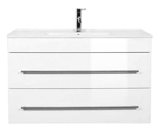 """Badmöbel """"Highline"""" 1000, mit Waschtisch und Unterschrank Farben: weiß hochglanz, anthrazit seidenglanz"""