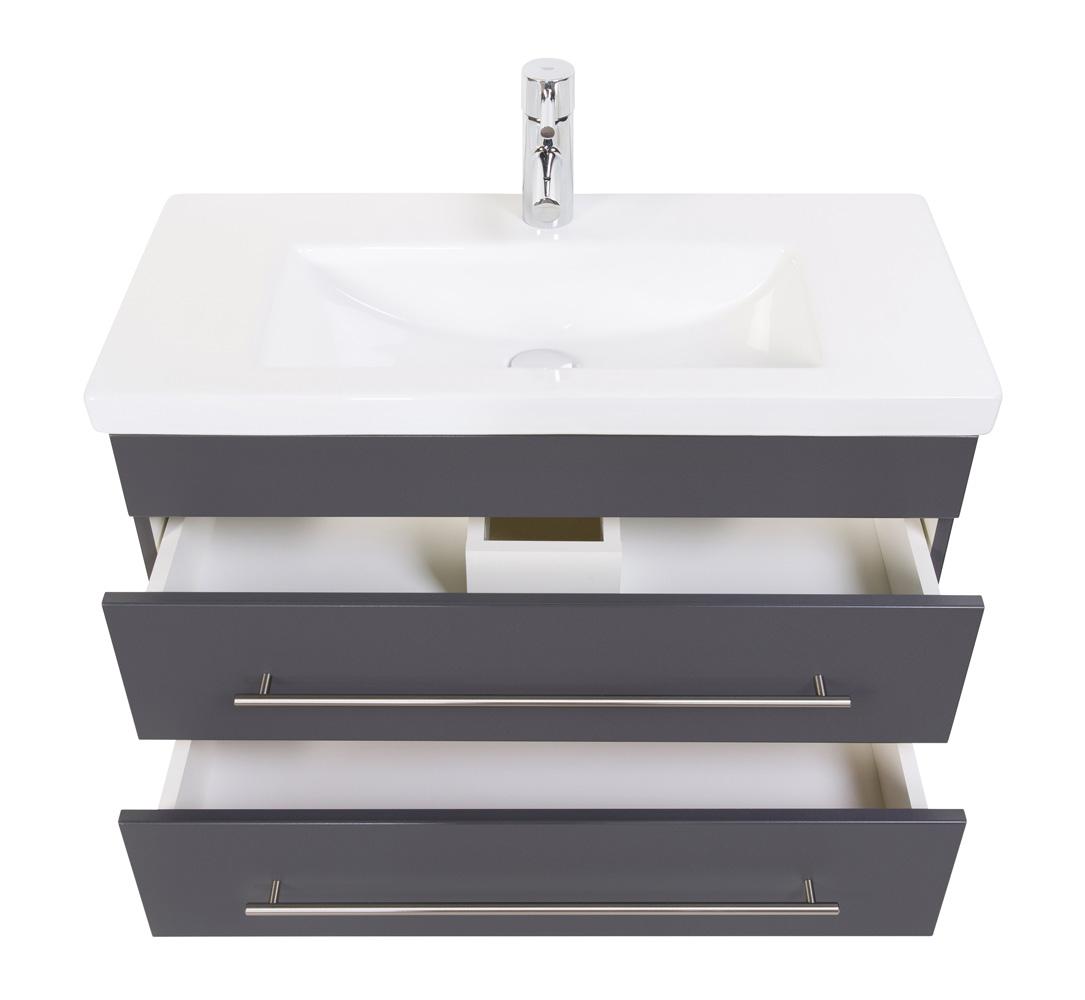 """Badmöbel """"Highline Slim"""" 80cm, mit Waschtisch und Unterschrank Farben: weiß hochglanz, anthrazit seidenglanz"""