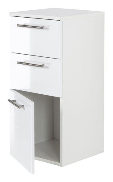 Midischrank Basic Farben: weiß/weiß hochglanz, weiß/schwarz seidenglanz,weiß/anthrazit seidenglanz, weiß/eiche hell, weiß/beton