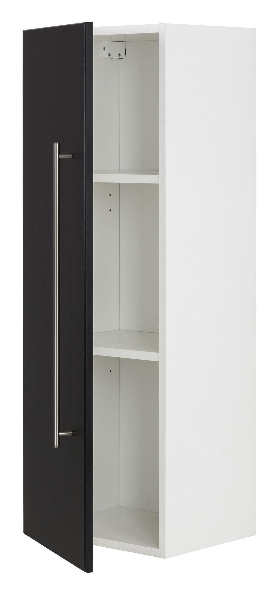 Hochschrank Basic 100, Farben: weiß/weiß hochglanz, weiß/schwarz seidenglanz,weiß/anthrazit seidenglanz, weiß/eiche hell, weiß/beton